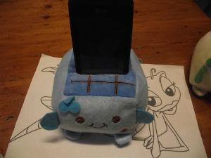 1 Porte-Téléphone Mignon en Peluche bleu foncer-bleu clair Idée Cadeau de 10 x 6.5 x 10