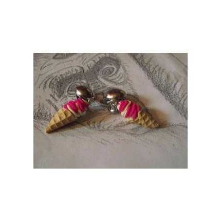 Boucle d oreille  a clip glace italienne rose-fuchsia-blanc