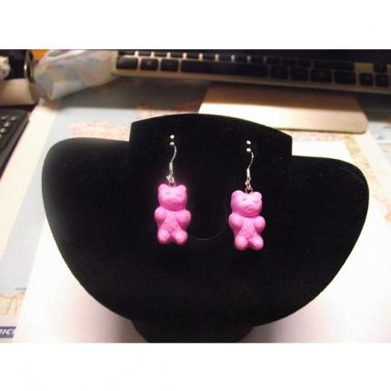 Boucle d oreille ours rose